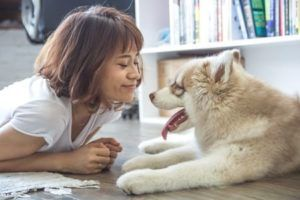 Robot aspirador compatible con Alexa - señora con perro